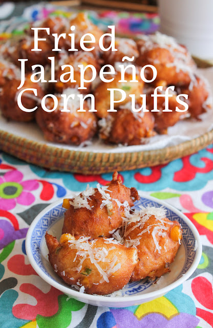 Food Lust People Love: Crunchy on the outside and fluffy on the inside, these fried jalapeño corn puffs are savory doughnuts of a most delicious kind. These would be perfect appetizers for a summer cocktail party, made with fresh sweet corn.