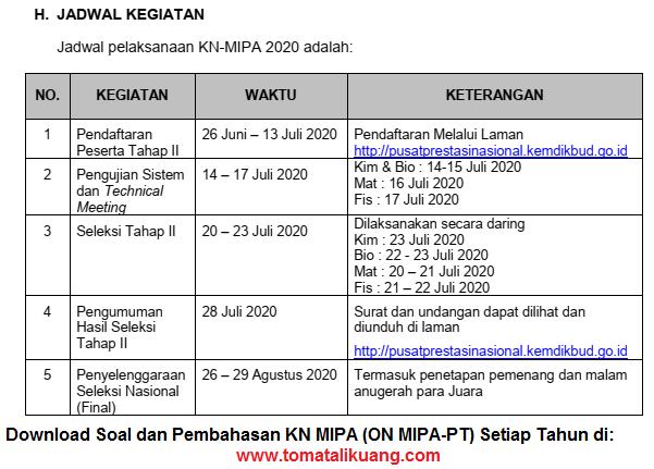 jadwal pelaksanaan seleksi kn mipa tahun 2020 ; jadwal kn mipa 2020 tingkat regional wilayah; jadwal kn mipa 2020 tingkat nasional; tomatalikuang.com