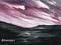 Bright Purple Sky over Dark Valley acrylic 2020