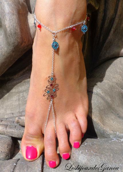 Bijoux de Pied en argent Rouge et Turquoise par Ganou