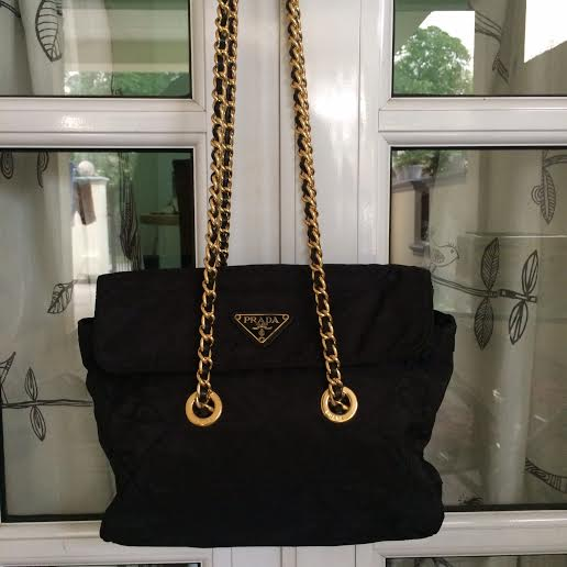 3fe7d69bc451b3 ... reduced authentic prada tessuto nylon golden chain bag 1bb34 b229b
