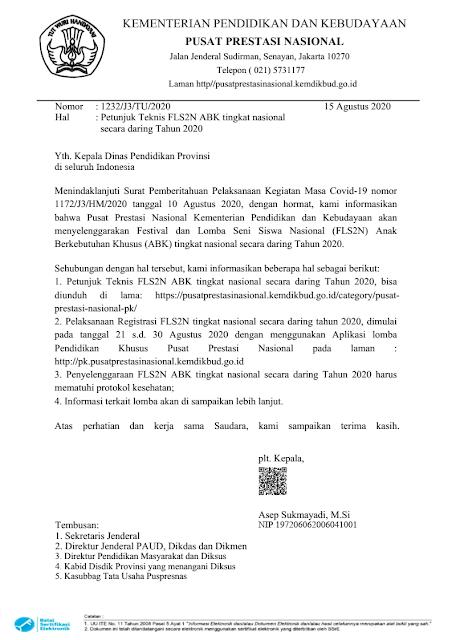 Surat Edaran Pusat Prestasi Nasional tentang Petunjuk Teknis FLS2N ABK Nasional Secar Daring Tahun 2020 tomatalikuang.com