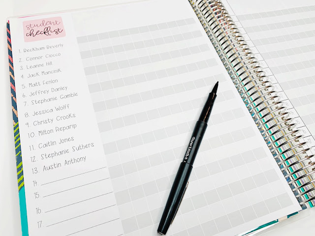teacher planner student checklist