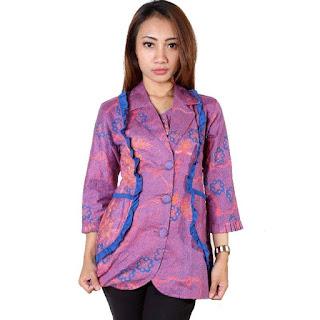 Model Baju Kerja Batik Modern Lengan Panjang