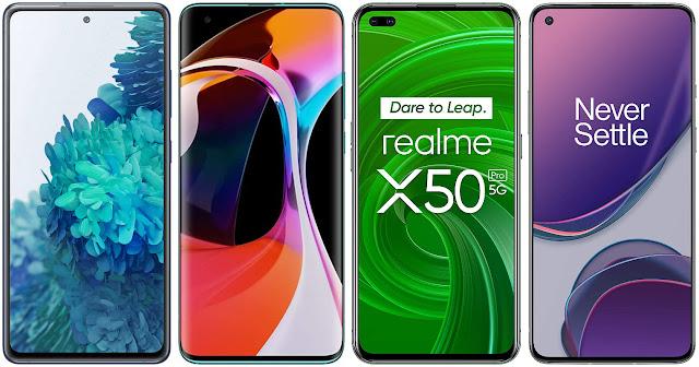 Samsung Galaxy S20 FE 5G vs Xiaomi Mi 10 vs Realme X50 Pro vs OnePlus 8T