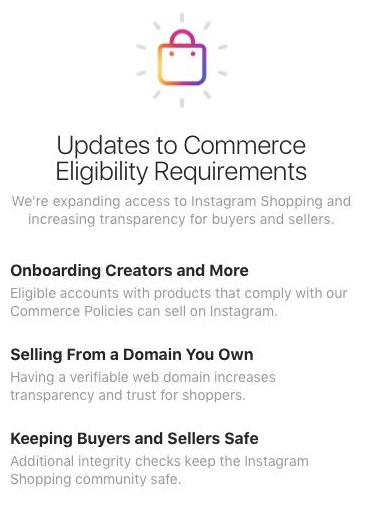 Commerce Eligibility Requirements of Instagram Shopping for Creators