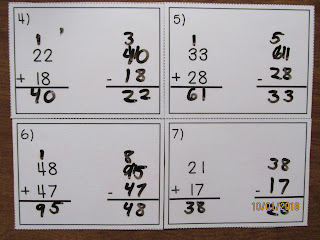 Check 2 Digit Addition with Subtraction Task Cards