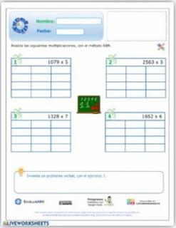 Ficha interactiva: Multiplicación 4x1 ABN