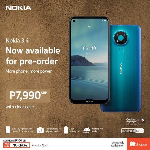 Nokia 3.4 launched in Philippines
