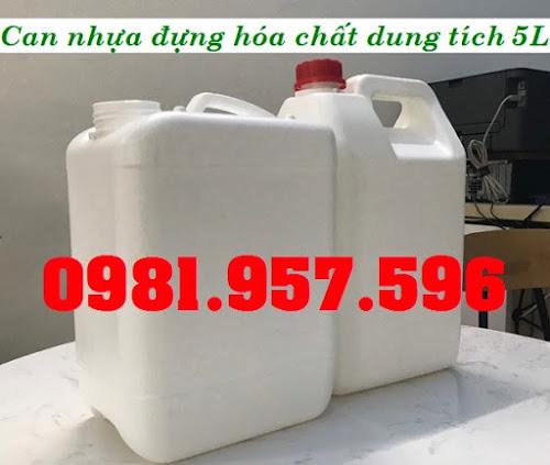Can nhựa trắng 5L, can vuông 5L, can vuông đựng hóa chất