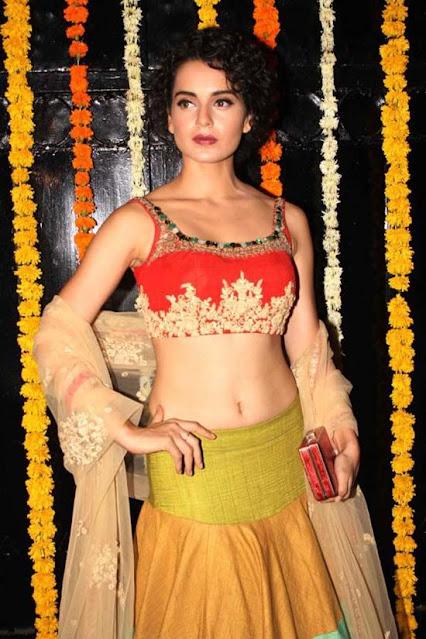 Actress Kangana Ranaut Cleavage and Navel Actress Trend