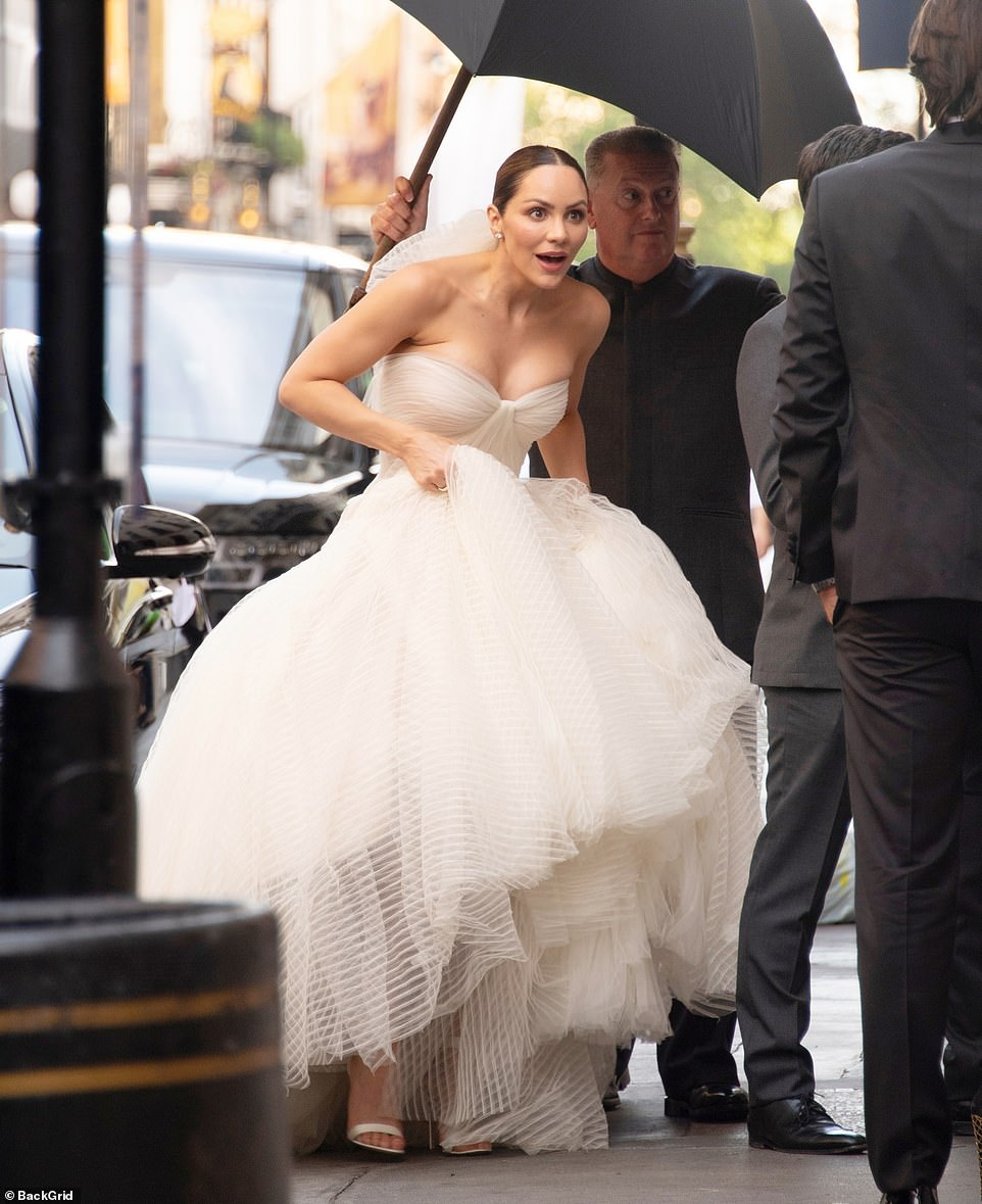 Katharine McPhee dazzled in a strapless gown as she married music producer David Foster