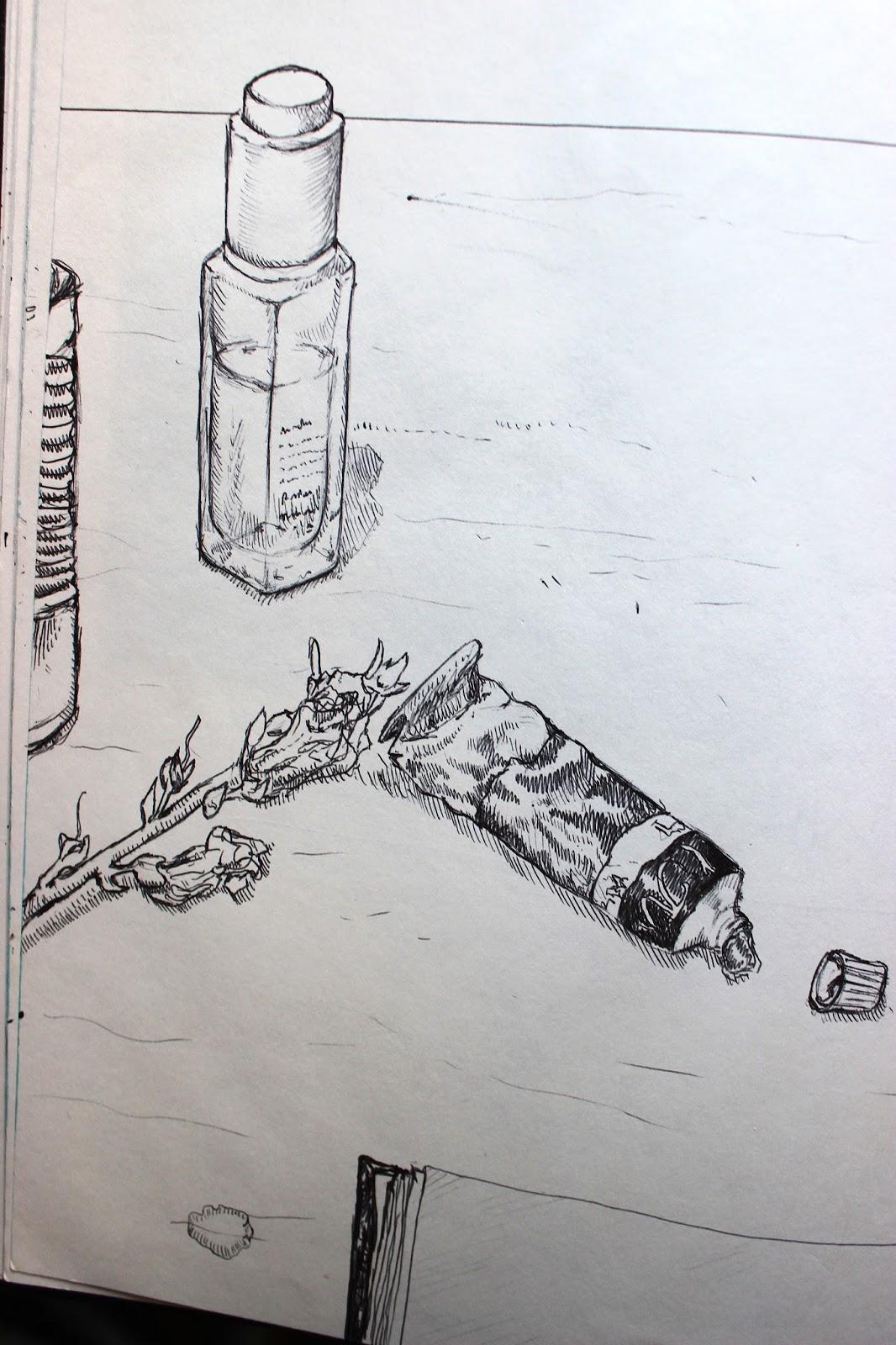 Drawing Sketch Illustration Pencil Sketchpad Notebook Desk Paint Tubes