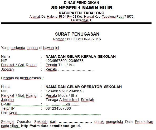 Contoh SK Operator Penugasan Verval PTK Dan NUPTK SDM PDSPK 2016