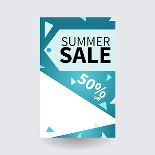Summer sale special banner template with triangle icon element on the background, up to 50% off. Vector illustration with color gradient.