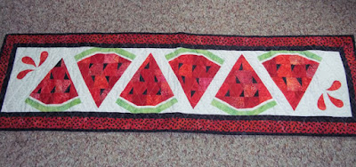 red watermelon slices make a table runner