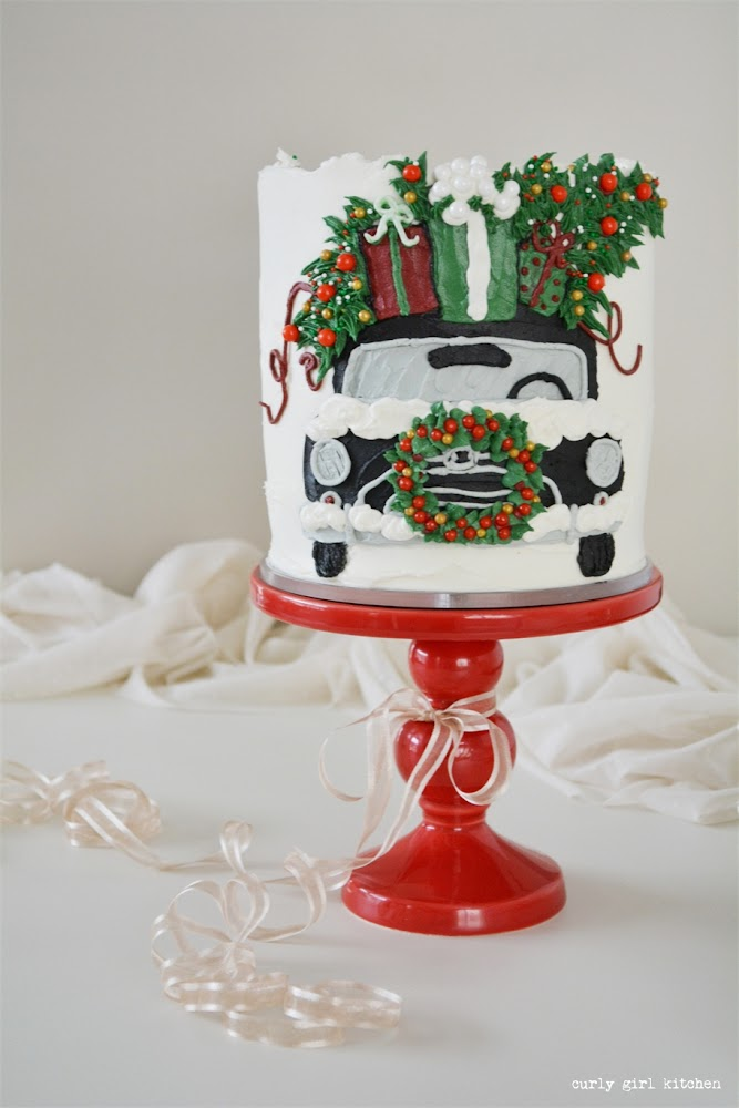 Christmas Cake, Painted Buttercream Cake, Christmas Cake Decorating, Vintage Christmas Car, Christmas Decorations, Gift Wrapping, Christmas Tree Cake