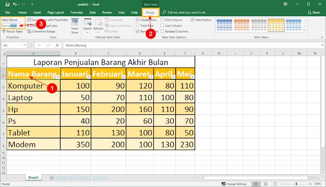 cara mengganti nama tabel excel