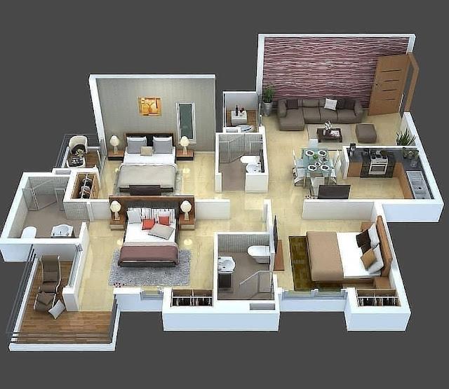 Denah Rumah Minimalis Ukuran 8x10 1 Lantai 3 Kamar