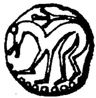 The lion symbol used on Aldfrith's coinage By John Yonge Akerman (1806–1873) [Public domain], via Wikimedia Commons