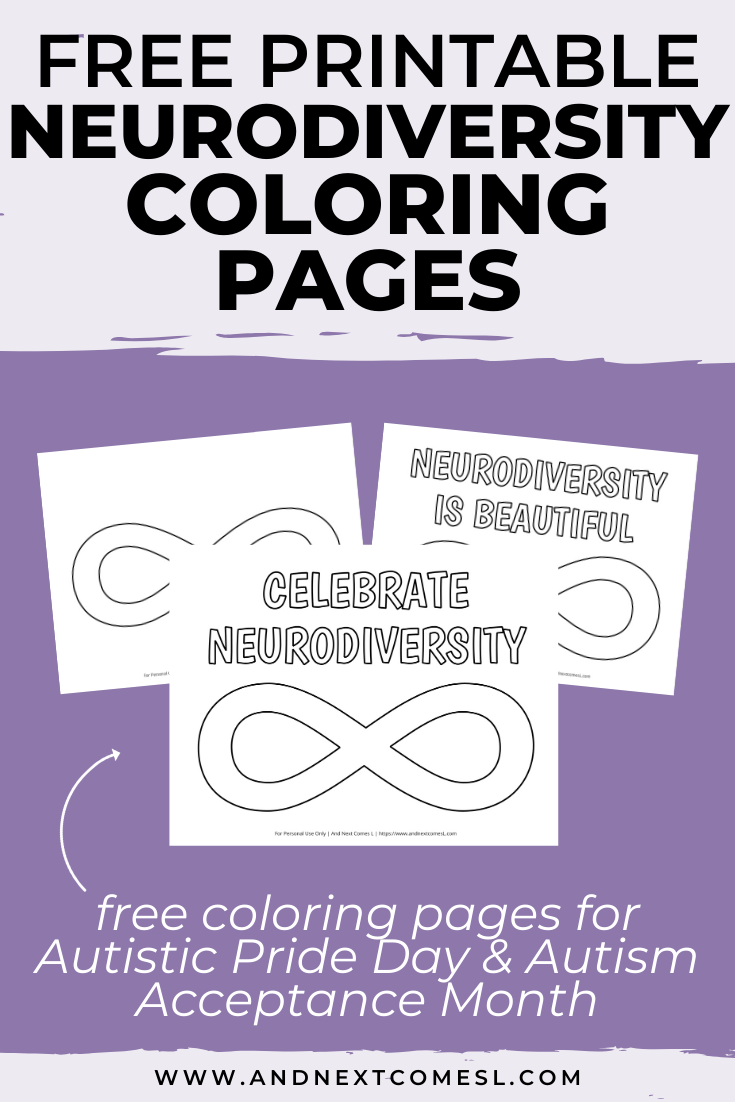 Free printable neurodiversity infinity symbol coloring pages - perfect for Autistic Pride Day and Autism Acceptance Month