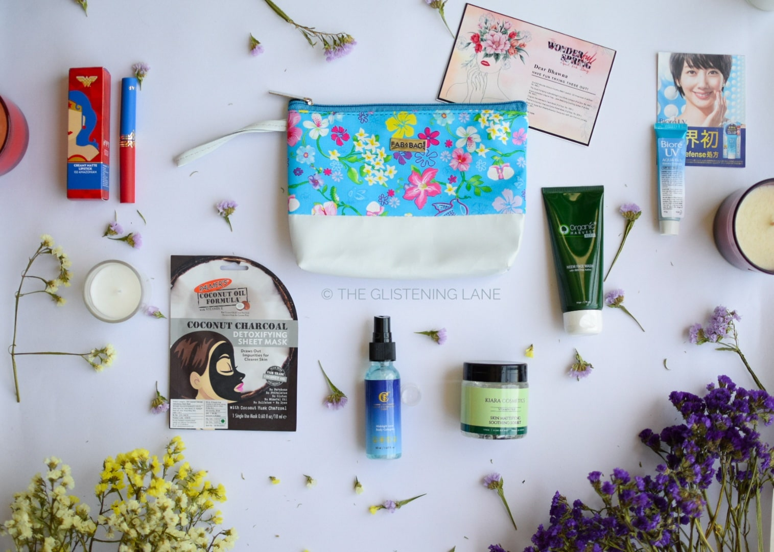 Flat lay shot of April Fab Bag