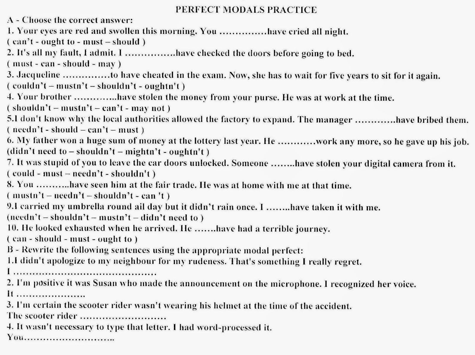 Sincerelyours 2bac Perfect Modals Practice
