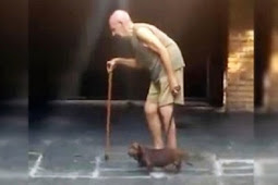 Patient Dog Walks Very Slowly So His Frail, Elderly Owner Can Keep Up