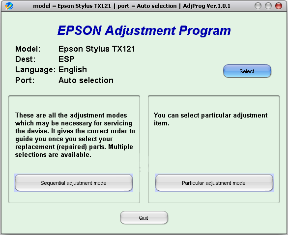 Programa adjustment para impresora TX121