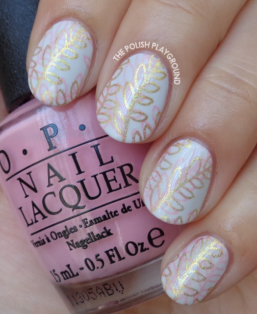 Pink and Gold Double Leaf Stamping Nail Art