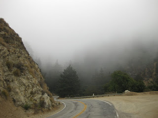 Dense fog hangs over the Pacific Coast Highway near Big Sur, California