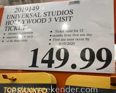Deal for the a 3-day visit ticket to Universal Studios Hollywood at Costco