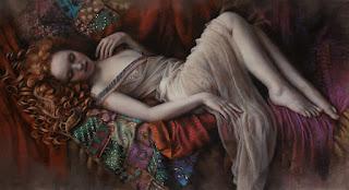 cuadros-con-figura-femenina-rodeadas-de-telas pinturas-femeninas-pinturas-realistas