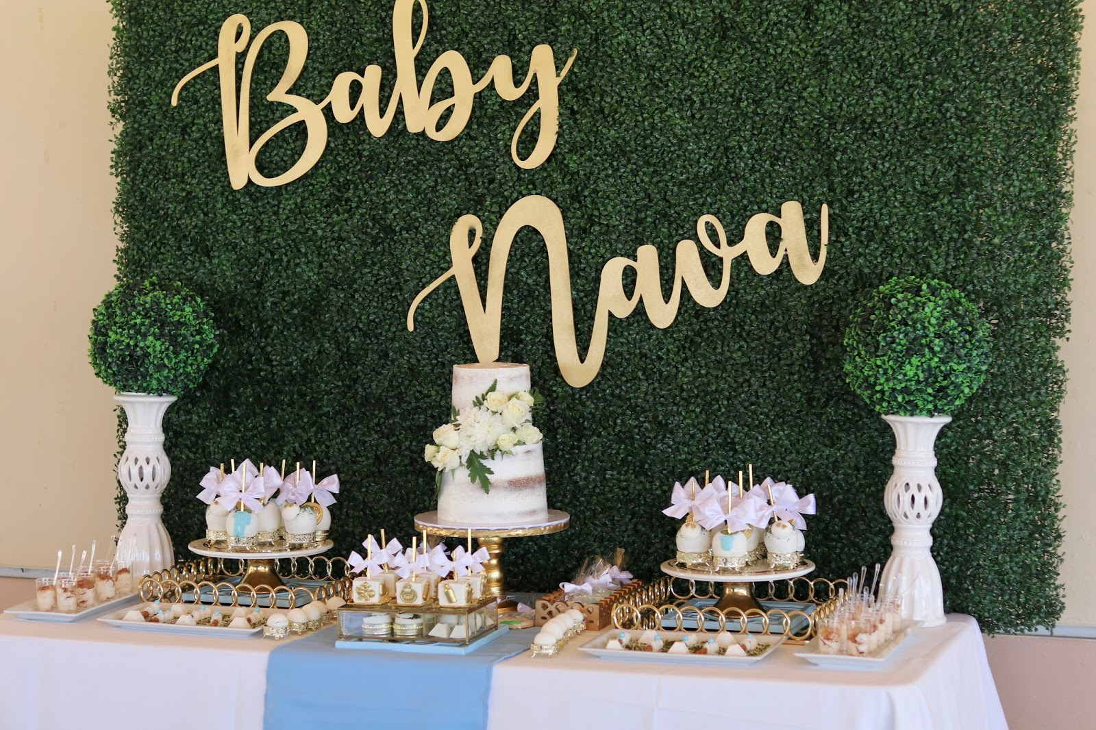 Baby Shower Dessert Table, gold and blue themed baby shower, elegant dessert table