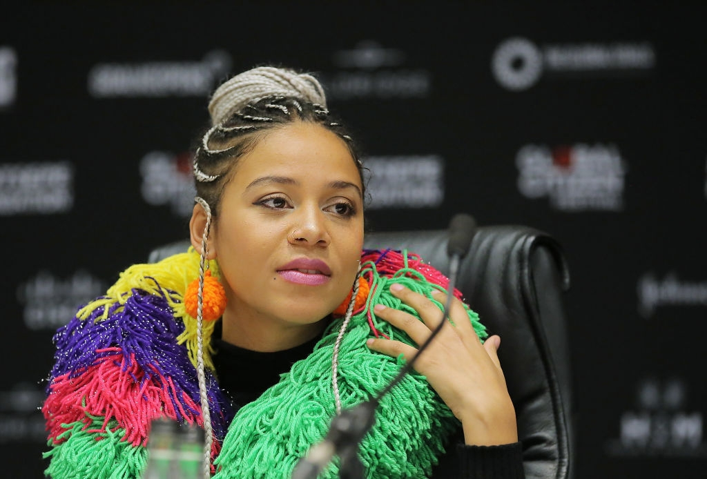 Singer Sho Madjozi onstage during the press conference for the Global Citizen Festival: Mandela 100 at Sandton Convention Center on July 9, 2018 in Johannesburg, South Africa. (Photo by Jemal Countess/Getty Images for Global Citizen)