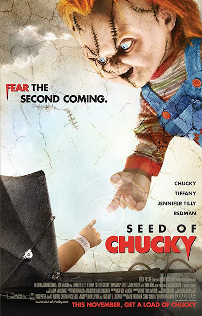 Movie poster for the Focus Features 2004 horror sequel film Seed of Chucky, Brad Dourif, Jennifer Tilly, Redman, Billy Boyd, Hannah Spearritt, John Waters, and Jason Flemyng