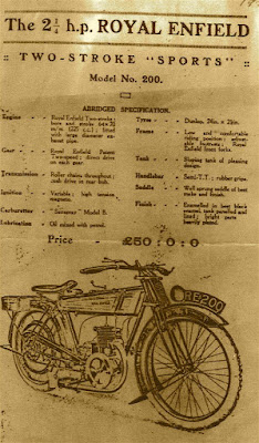 Period advertisement for Royal Enfield Model 200 Sports.