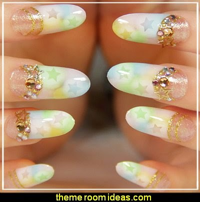 Bridal style gold glitter false nails art decoration