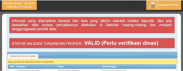 Status validasi tunjangan profesi valid perlu verifikasi dinas
