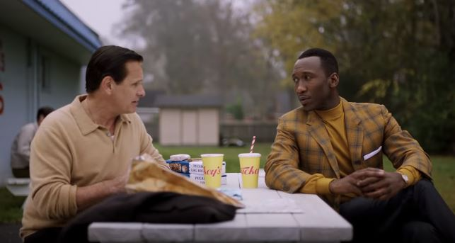 Mahershala Ali as Don Shirley and Viggo Mortensen Tony Lip in 'Green Book'