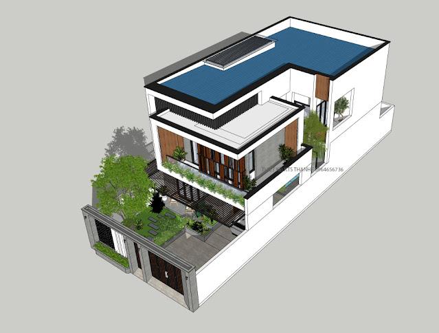 View tổng thế model biệt thự phố hiện đại 2021