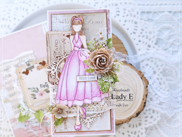 Vintage Style Card with Prima Doll