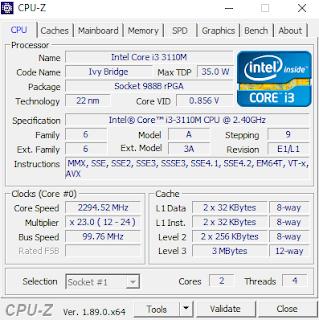 Hasil Cek Spesifikasi Menggunakan CPU-Z