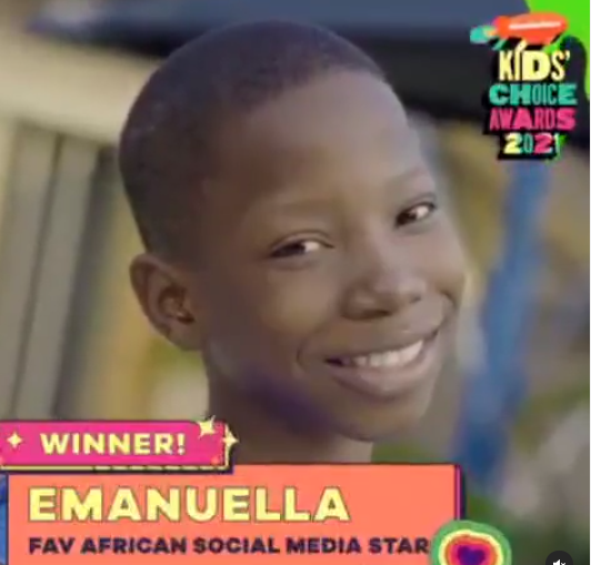 """Comedienne Emmanuella  wins the """"Favourite African Social Media Star"""" at 2021 Nickelodeon Kids Choice Awards"""
