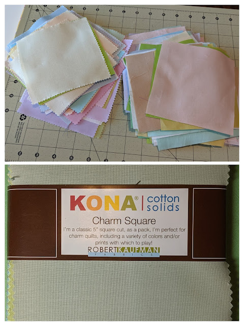 A collage of two photos shows the 5-inch charm pack combined with a variety of pastel solids from my stash.