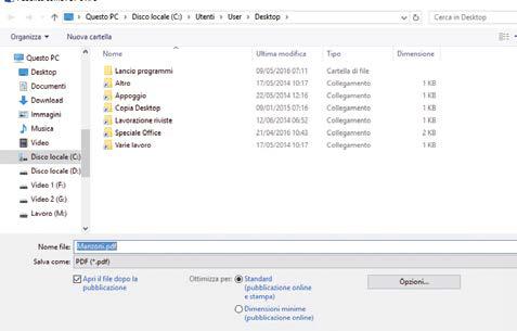 scegliere formato esportazione file in word