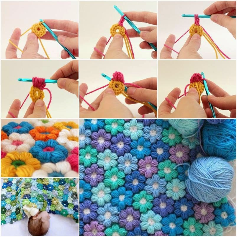 DIY 6 Petal Crochet Flower Baby Blanket