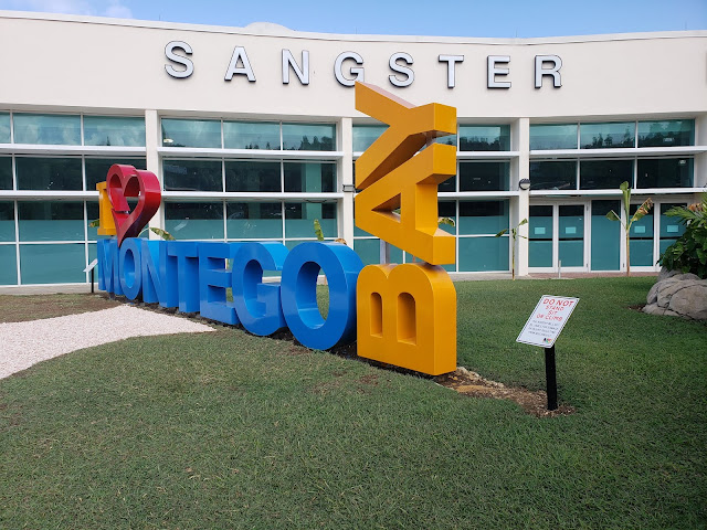 """""""I Love Montego Bay"""" sign in Jamaica Sangster Airport"""