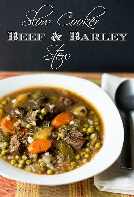 The beef and barley stew, in a bowl, with the title above it on a black background.