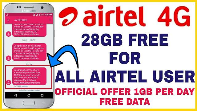 Airtel Get Free 10GB 4G Data By Dialing The Number